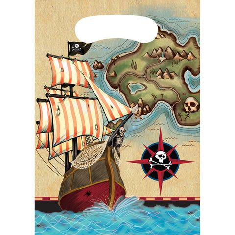 Pirates Map Plastic Loot Bags/Case of 96
