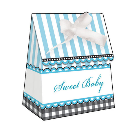 Sweet Baby Feet Blue Plastic Favor Bags Diecut with Ribbon/Case of 72