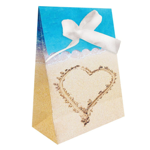 Beach Love Plastic Favor Bags Diecut with Ribbon/Case of 72
