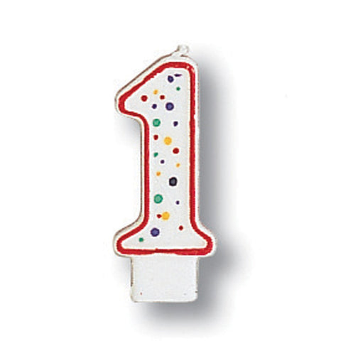 Numeral Polka Dot Candle Number 1/Case of 6