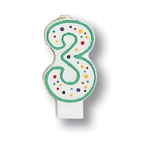Numeral Polka Dot Candle Number 3/Case of 6