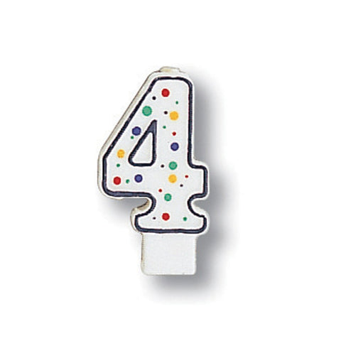 Numeral Polka Dot Candle Number 4/Case of 6