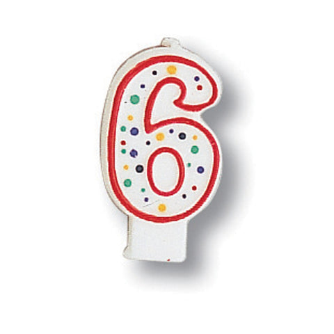 Numeral Polka Dot Candle Number 6/Case of 6