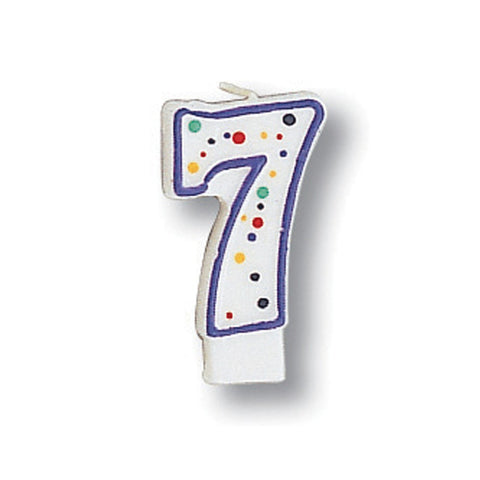 Numeral Polka Dot Candle Number 7/Case of 6