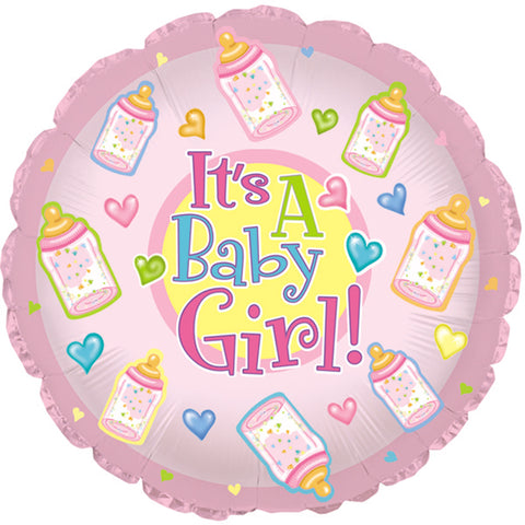 "17"" Baby Girl Bottles Foil Balloon/Case of 5"