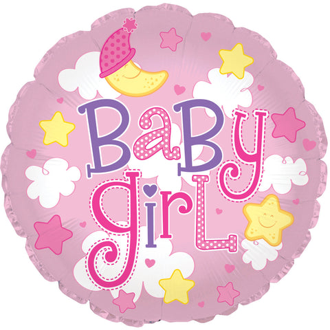 "24"" Baby Girl Clouds Foil Balloon/Case of 5"