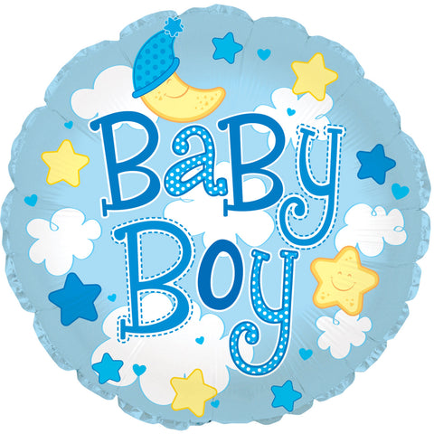 "24"" Baby Boy Clouds Foil Balloon/Case of 5"
