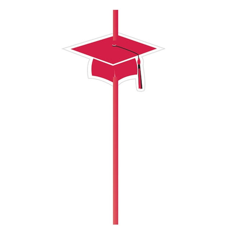 Grad Classic Red Straws with Attachment/Case of 72
