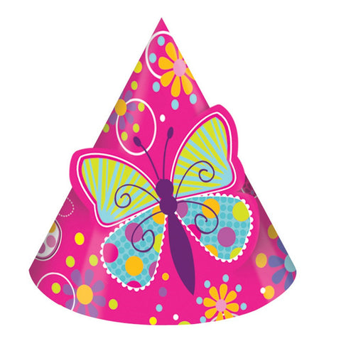 Butterfly Sparkle Child Size Party Hats Pop Out/Case of 48