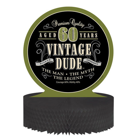 Vintage Dude Honeycomb Centerpiece 60th/Case of 6