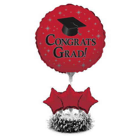 Graduation Red Air Filled Balloon Centerpiece Kit/Case of 4
