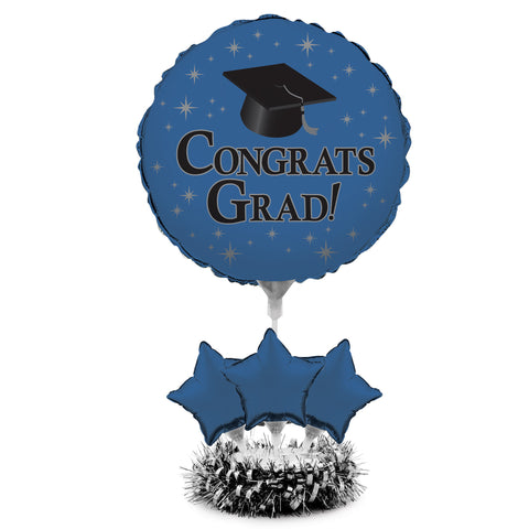 Graduation Cobalt Air Filled Balloon Centerpiece Kit/Case of 4