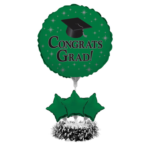 Graduation Em Green Air Filled Balloon Centerpiece Kit/Case of 4