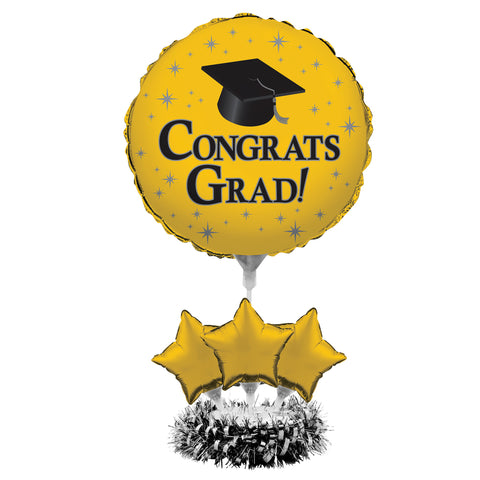 Graduation Yellow Air Filled Balloon Centerpiece Kit/Case of 4