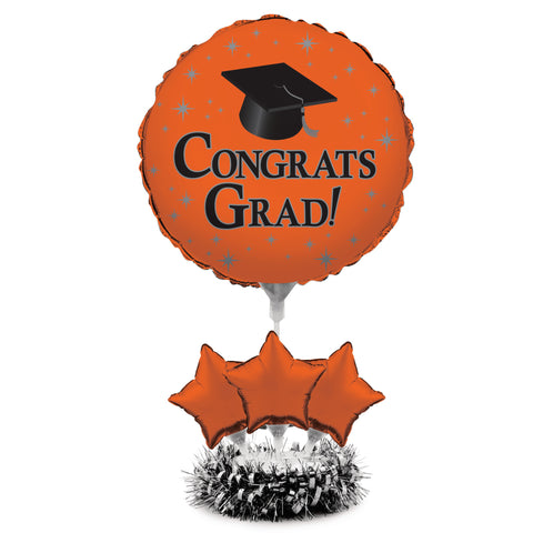 Graduation Orange Air Filled Balloon Centerpiece Kit/Case of 4