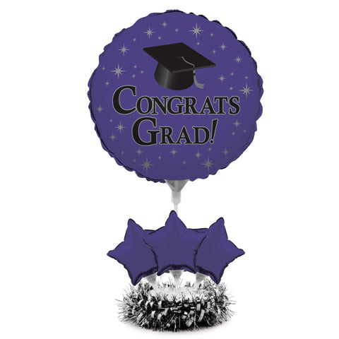 Graduation Purple Air Filled Balloon Centerpiece Kit/Case of 4
