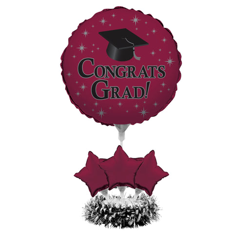 Graduation Burgundy Air Filled Balloon Centerpiece Kit/Case of 4