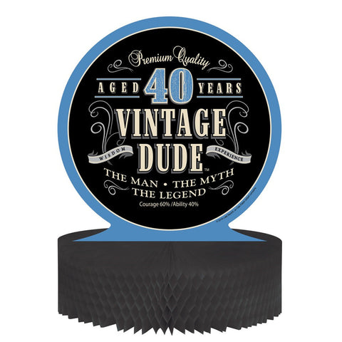Vintage Dude Honeycomb Centerpiece 40th/Case of 6