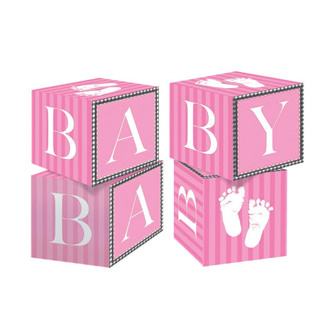 Blokc Centerpiece Sweet Baby Feet Pink/Case of 6