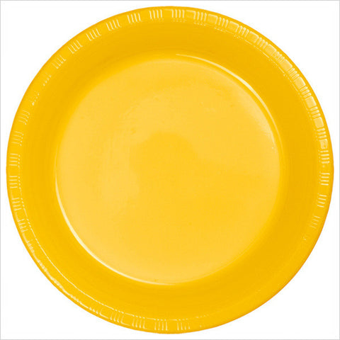 10 inch Plastic Banquet Plate Bulk School Bus Yellow/Case of 600