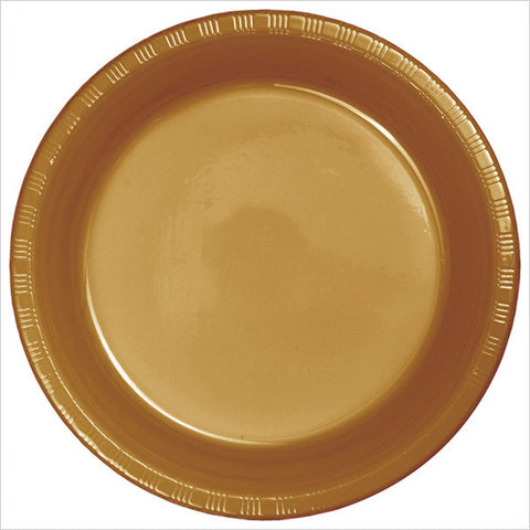 10 inch Plastic Banquet Plate Bulk Glittering Gold/Case of 600