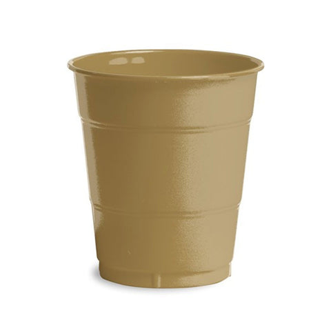 12 oz Solid Plastic Cups Glittering Gold/Case of 240