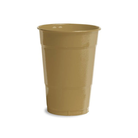 16 oz Solid Plastic Cups Glittering Gold/Case of 240