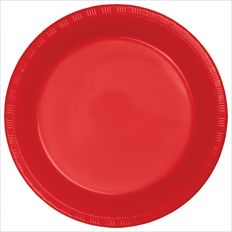 10 inch Plastic Banquet Plate Bulk Classic Red/Case of 600
