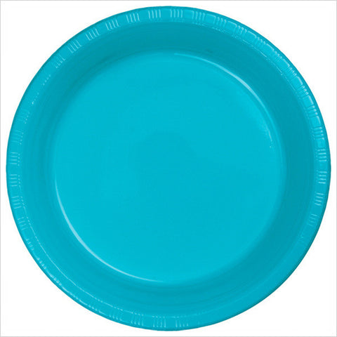 10 inch Plastic Banquet Plate Bermuda Blue/Case of 240