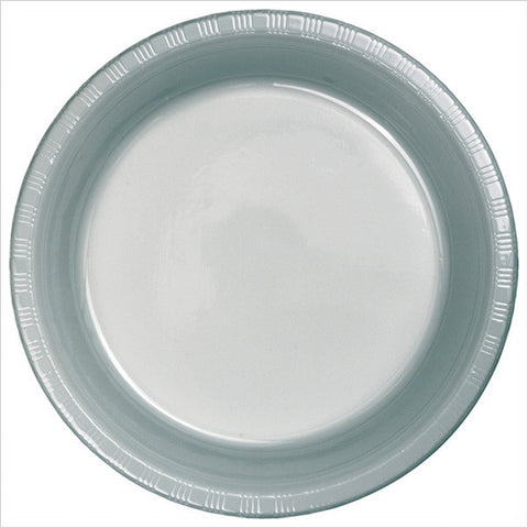 10 inch Plastic Banquet Plate Bulk Shimmering Silver/Case of 600
