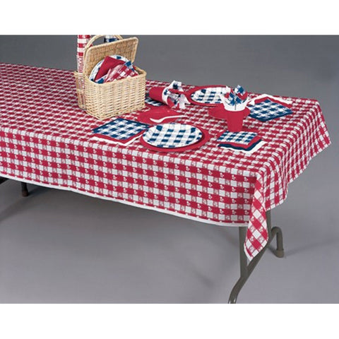 54 x 108 Tissue/Poly Tablecover Red Gingham/Case of 12