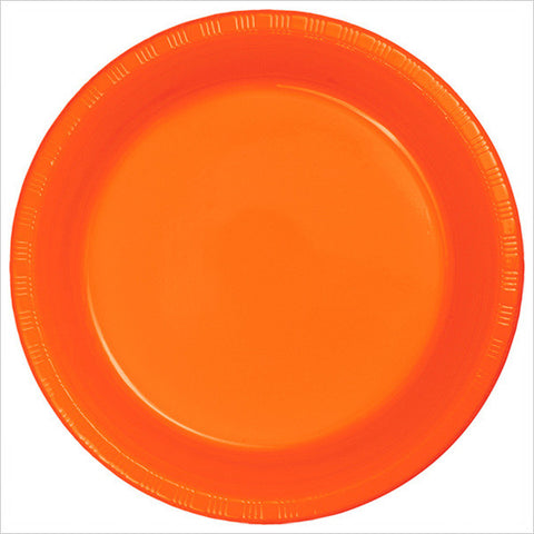 10 inch Plastic Banquet Plate Sunkissed Orange/Case of 240