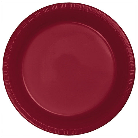 10 inch Plastic Banquet Plate Burgundy/Case of 240