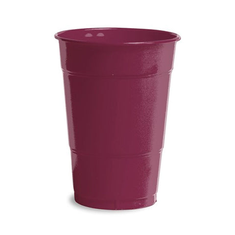 16 oz Solid Plastic Cups Burgundy/Case of 240