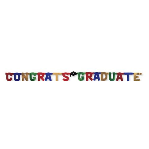 Congrats Grad Jointed Banner 8 Inch Large/Case of 12