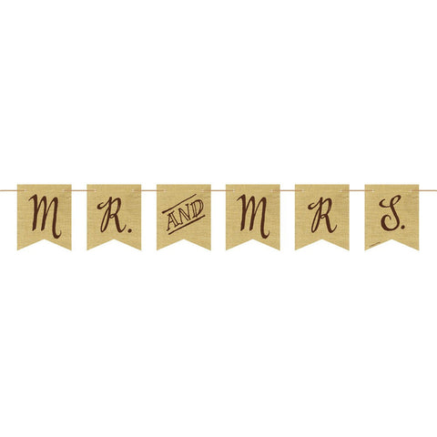 Rustic Wedding Burlap Pennant Banner with Twine Mr and Mrs/Case of 6