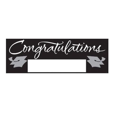 Fill In Black/Silver Grad Giant Party Banner 60 Inch x 20 Inch/Case of 6