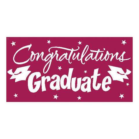 Burgundy Congrats Grad Gigantic Greetings 10 x 5/Case of 6