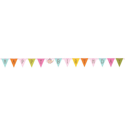 Tea Time Flag Shaped Ribbon Banner/Case of 6
