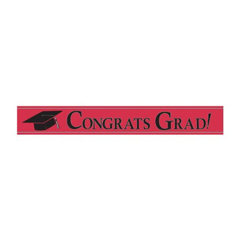 Classic Red Foil Banner 24 x 5 Inch Congrats Grad/Case of 12