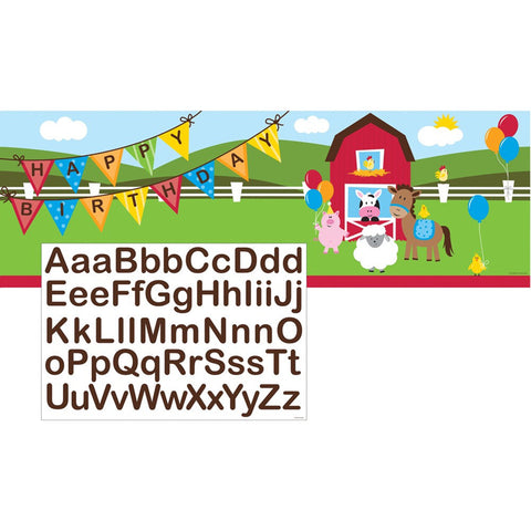 Farmhouse Fun Giant Party Banner with Stickers/Case of 6