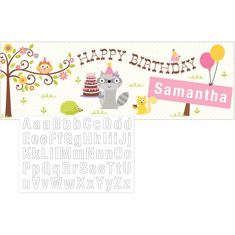 Happi Woodland Girl Giant Party Banner with Stickers/Case of 6
