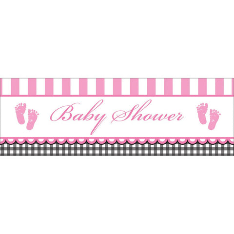 Sweet Baby Feet Pink 60 x 20 Giant Party Banner/Case of 6