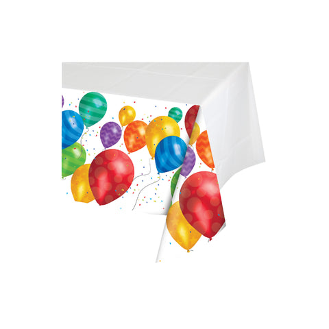 Balloon Blast 54 x 102 Inch Border Print Plastic Tablecover/Case of 6