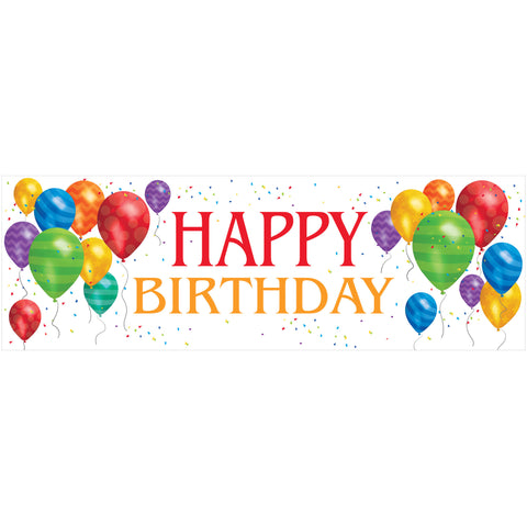 Balloon Blast Giant 20 x 60 Inch Happy Birthday Party Banner/Case of 6