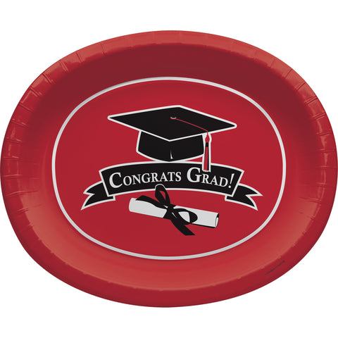 School Colors Classic Red 10 x 12 Inch Paper Oval Platters/Case of 96