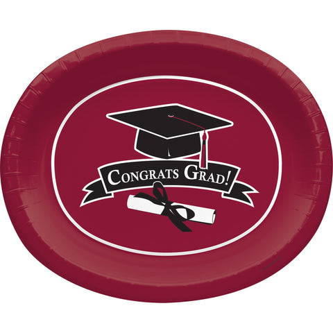 School Colors Burgundy 10 x 12 Inch Paper Oval Platters/Case of 96