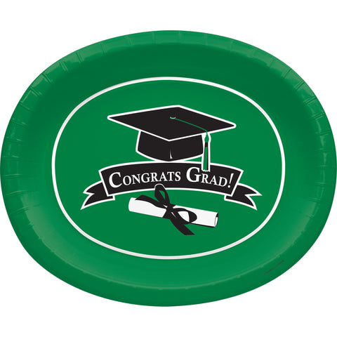 School Colors Emerald Green 10 x 12 Inch Paper Oval Platters/Case of 96