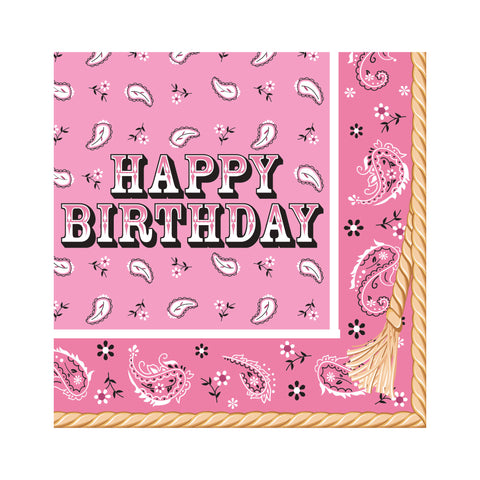Pink Bandana Cowgirl Happy Birthday Lunch Napkins/Case of 192