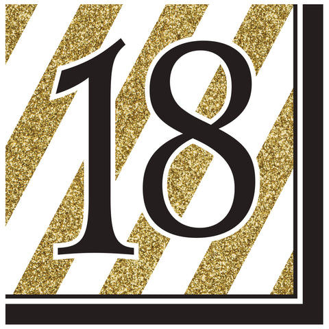 Black & Gold 18th Lunch Napkins/Case of 192